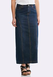Plus Size Seamed Dark Denim Maxi Skirt