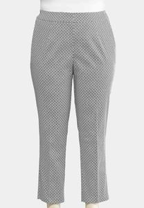 Sateen Geo Ankle Pants-Plus