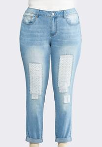 Eyelet Patchwork Ankle Jeans-Plus