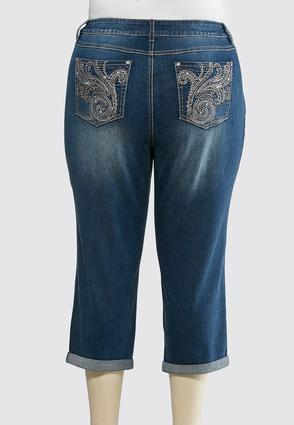 Plus Size Swirl Pocket Embellished Cropped Jeans