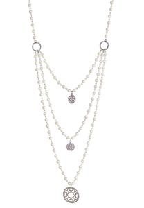 Layered Pearl Filigree Necklace