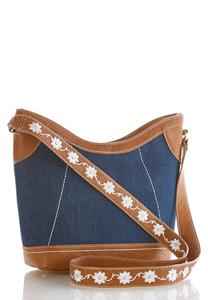 Floral Strap Denim Crossbody