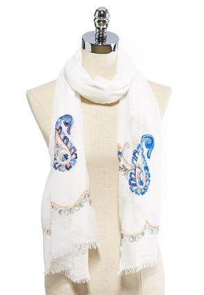 Paisley Embroidered Oblong Scarf | Tuggl