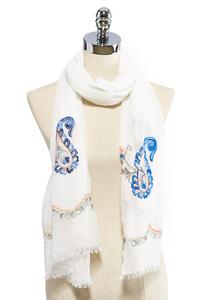 Paisley Embroidered Oblong Scarf