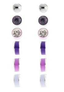 Colored Enamel Button Earring Set