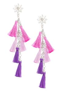 Multi Color Fabric Tassel Earrings