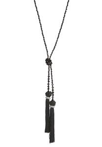 Knotted Bead Tassel Necklace