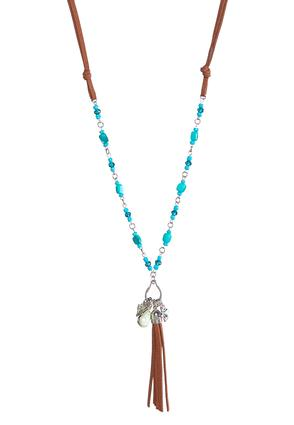 Beaded Faux Suede Tassel Necklace