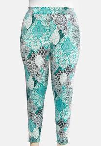 Plus Size Cropped Medallion Leggings