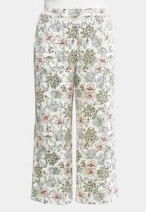 Plus Size Sketched Floral Palazzo Pants