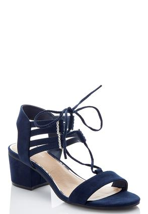 Wide Width Lace Up Block Heel Sandals | Tuggl