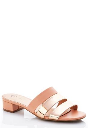 Wide Width Rose Metallic Heeled Sandals   Tuggl
