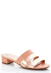 Wide Width Rose Metallic Heeled Sandals
