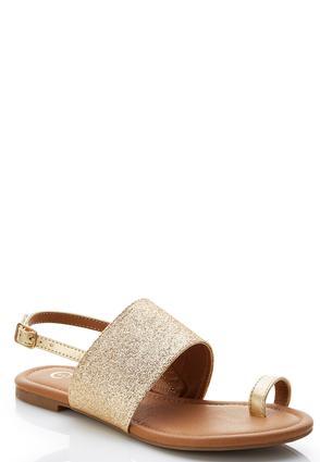 Glitter Band Toe Loop Sandals | Tuggl