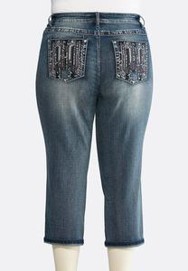 Plus Size Stitch Embellished Cropped Jeans