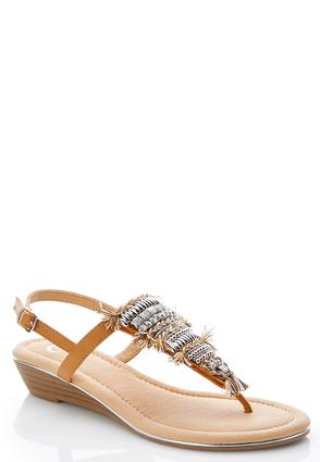 Embellished Low Wedge Sandals | Tuggl