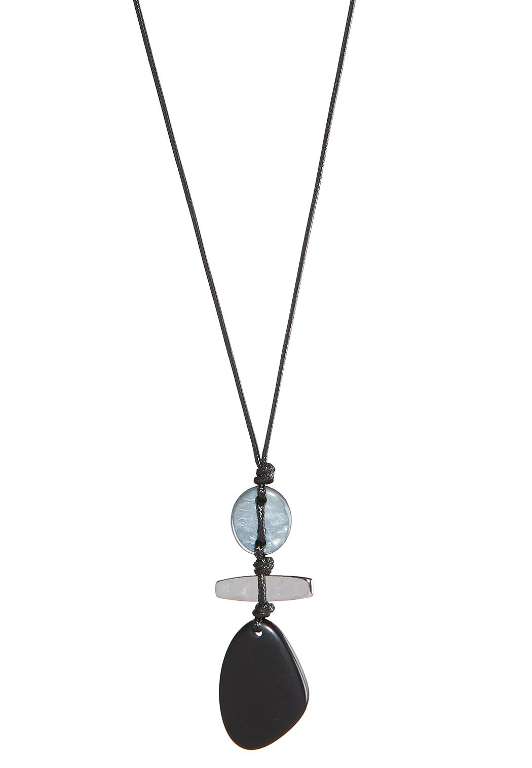 Dark stone pendant cord necklace long cato fashions dark stone pendant cord necklace aloadofball Choice Image