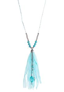 Blue Fabric Tassel Necklace
