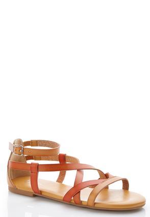 Multi-Tone Strappy Sandals   Tuggl