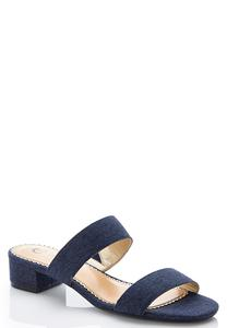 Wide Width Two Band Denim Slides