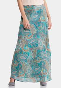 Whimsical Paisley Maxi Skirt-Plus