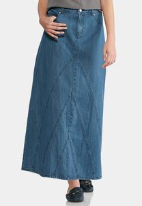 Angled Front Seam Denim Maxi Skirt