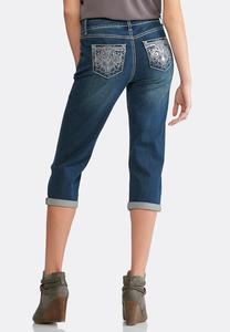 Cropped Embellished Pocket Jeans