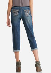 Swirl Pocket Embellished Cropped Jeans
