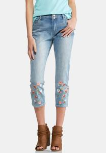 Cropped Coral Embroidered Jeans