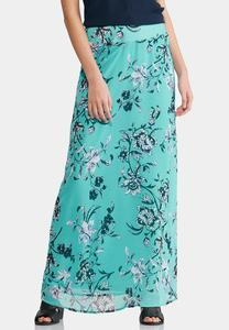 Plus Size Floral Woven Maxi Skirt