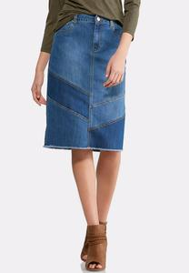 Blue Contrast Frayed Denim Skirt