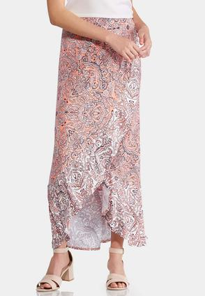 Plus Size Paisley Ruffled Maxi Skirt   Tuggl