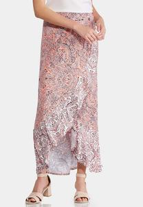 Plus Size Paisley Ruffled Maxi Skirt