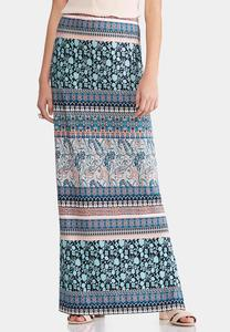 Plus Size Mixed Print Maxi Skirt