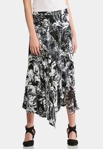 Plus Size Asymmetrical Ruffled Skirt