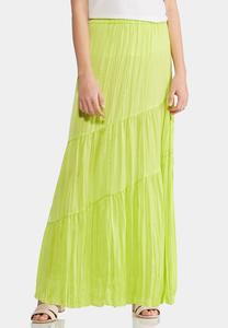 Plus Size Tiered Lime Maxi Skirt