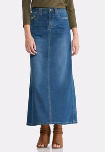 Plus Size Decorative Stitch Denim Maxi Skirt