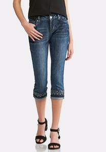 Cropped Tonal Embroidered Jeans