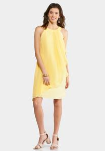 Plus Size Yellow Ruffled Swing Dress