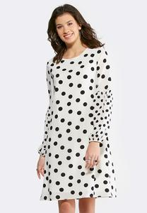 Plus Size Polka Dot Lantern Sleeve Dress