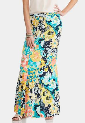 Floral Watercolor Mermaid Maxi Skirt