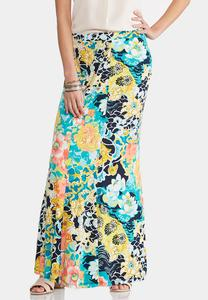 Plus Size Floral Watercolor Mermaid Maxi Skirt