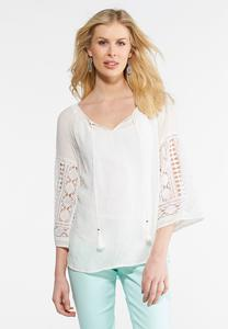 Crochet Sleeve Poet Top