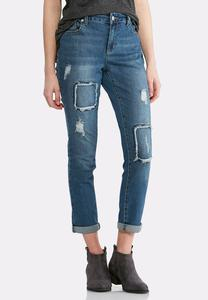 Distressed Frayed Patchwork Jeans