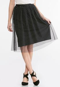 Mesh Polka Dot Skirt-Plus
