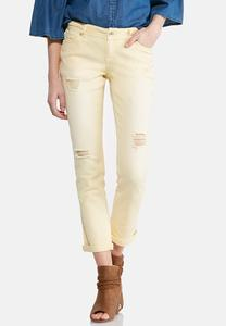 Distressed Colored Ankle Jeans