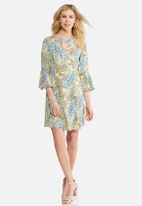 Plus Size Paisley Bell Sleeve Dress