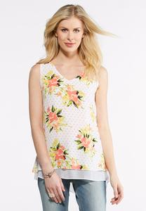 Floral Dot Layering Tank-Plus