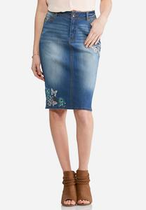 Plus Size Embroidered Denim Skirt