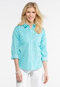 Plus Size Brushed Dotted Shirt